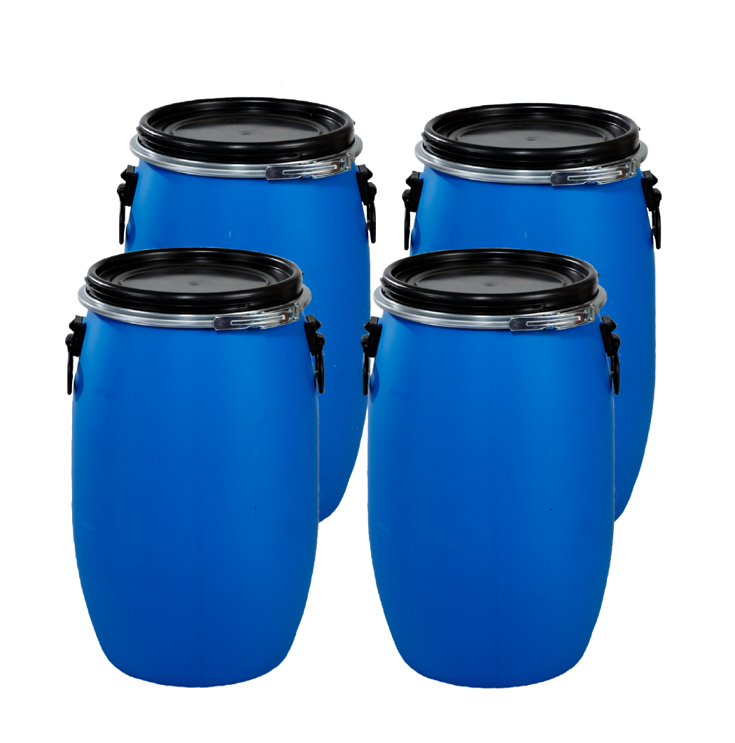 30 Litre Full Open Top Plastic Drum - Pack of 4 Drums